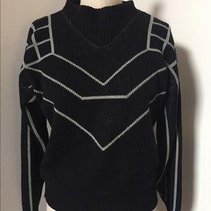 Black & Grey Vintage Geometric Sweater